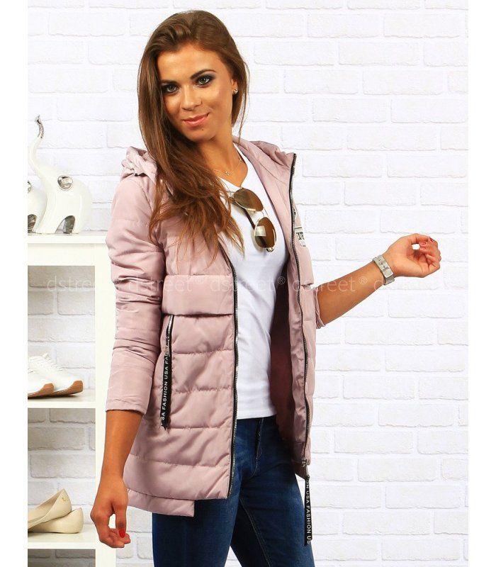 Dámska ružová prešívaná bunda s kapucňou  d3e937eb7f6
