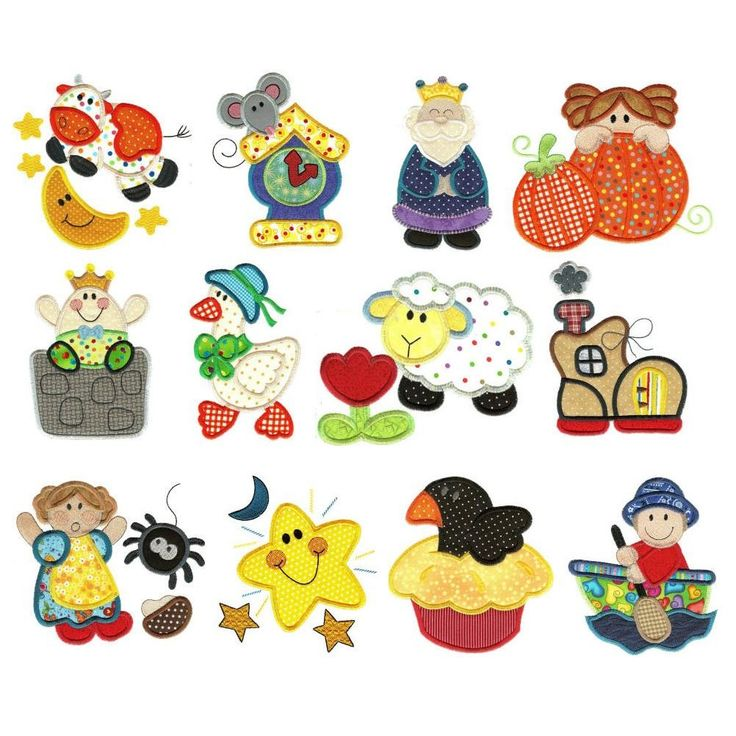 Nursery Rymes Applique Machine Embroidery Designs | Designs by JuJu
