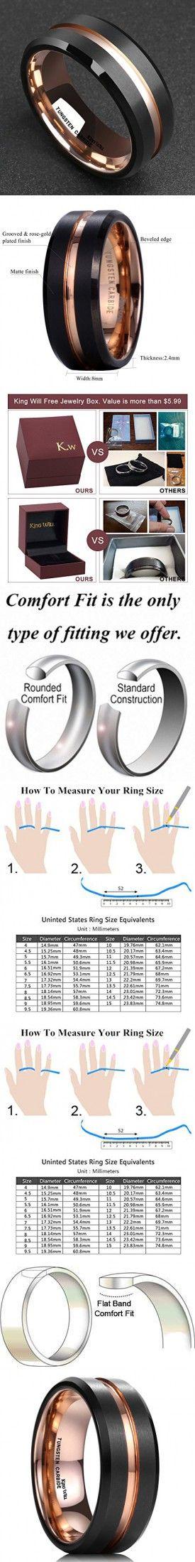 King Will Mens 8mm Black Matte Finish Tungsten Carbide Ring 18K Rose Gold Plated Beveled Edge Wedding Band(8.5)
