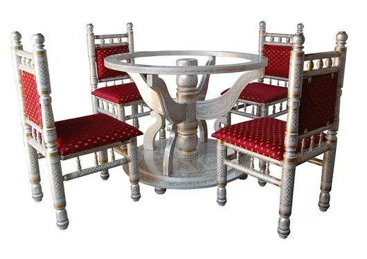 Sankheda round dining set, wooden dining with chair, painted dining set, teak wood dining set, carved dining set, dining set, dining chair,