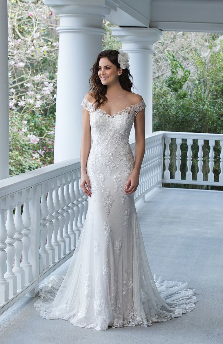 Style 3983, off-the-shoulder lace gown, $999, Sincerity Bridal Courtesy of Sincerity Bridal/From Brides  via @AOL_Lifestyle Read more: https://www.aol.com/article/lifestyle/2017/03/07/40-wedding-dresses-under-1000/21875647/?a_dgi=aolshare_pinterest#fullscreen