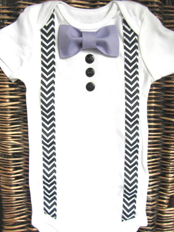 Baby Boy Clothes - Bow Tie Onesie - Baby Tuxedo Onesie - Boy Coming Home Outfit - Chevron Suspenders With Purple Lavender Bow Tie via Etsy