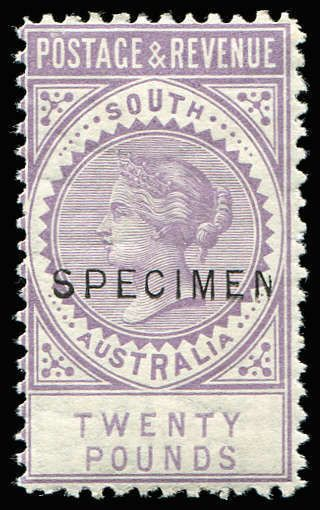 AUSTRALIAN COLONIES - SOUTH AUSTRALIA 1886-96 'POSTAGE & REVENUE' complete 18½mm 'SPECIMEN' set of 13, all wmk sideways except the £3 which is wmk upright, mainly part og. The £3 & £5 are P11½-12½, the balance are P10. A very rare complete set. The top 5 values are rated R3 by Walker. A similar set sold for $4,400 in a recent Sydney auction.  Anbieter Phoenix Auctions  Saalauktion Ausruf: 3600.00AUD
