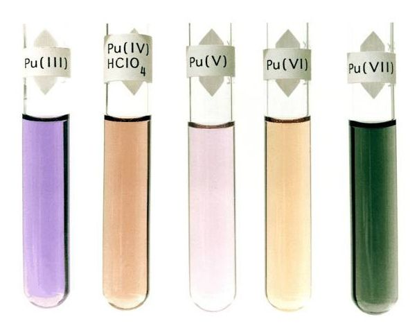 The color of plutonium oxidation states. Each oxidation state, ranging from Pu(III) to Pu(VII), has a characteristic color in solution. Plutonium will often change oxidation states in solution, making its interaction with the natural environment inordinately complex. Image: Los Alamos National Laboratory (Public domain).