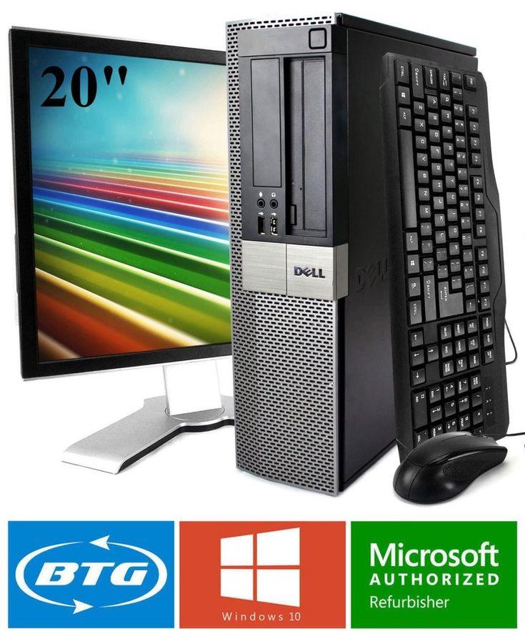"""Fast Dell Desktop Computer 8gb 1TB 240gb SSD Windows 10 Pro WiFi 19"""" 20"""" LCD KB"""