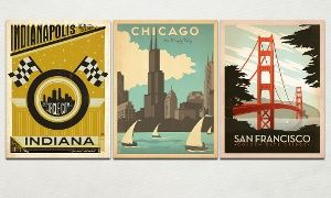 "Groupon - Anderson Design Group 24""x18"" Retro U.S. Travel Posters in [missing {{location}} value]. Groupon deal price: $29.99"