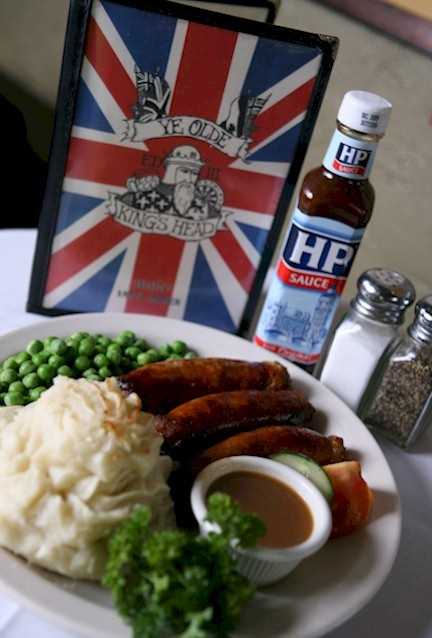 Bangers (Sausages) & Mash with Peas 'n Gravy at Ye Olde Kings Head in Santa Monica.