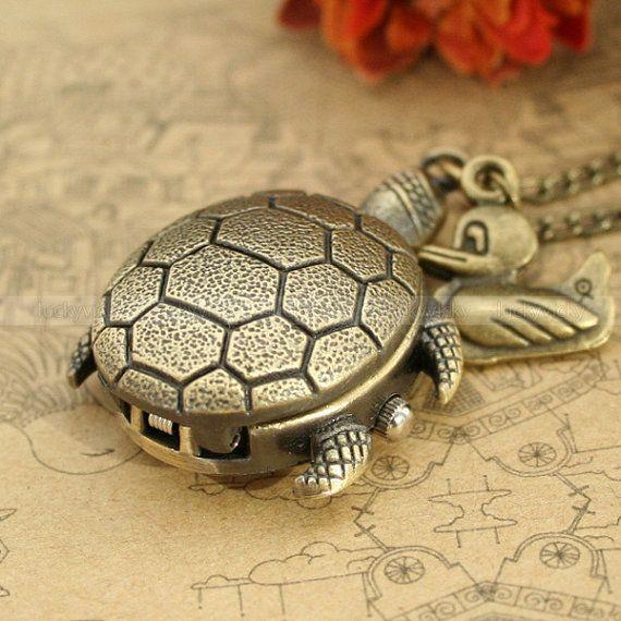 turtle pocket watch necklace