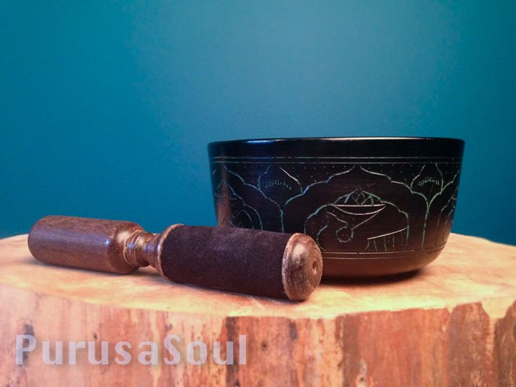 """Singing Bowl, 6"""" Diameter with Wooden Pallet, Meditation Supplies, Sound Therapy, New Age Supplies by PurusaSoul on Etsy"""