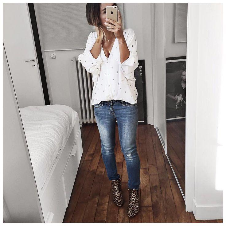 """Audrey na Instagramie: """"Tenue du jour sous gilet Cachemire et manteau ⚪️ • Shirt #lesprairiesdeparis (old) • Jean #levis modèle 711 surtaillé (from @levis_fr) • Boots #isabelmarant (still available on @farfetch & @matchesfashion) ..."""""""