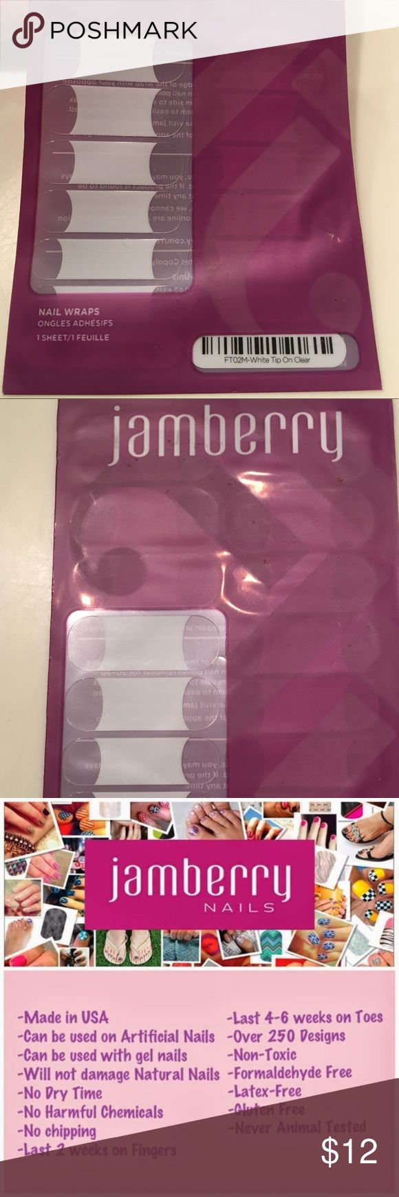 Jamberry full set French white tip The classic French tip look, this clear wrap features a white tip. Jamberry Makeup