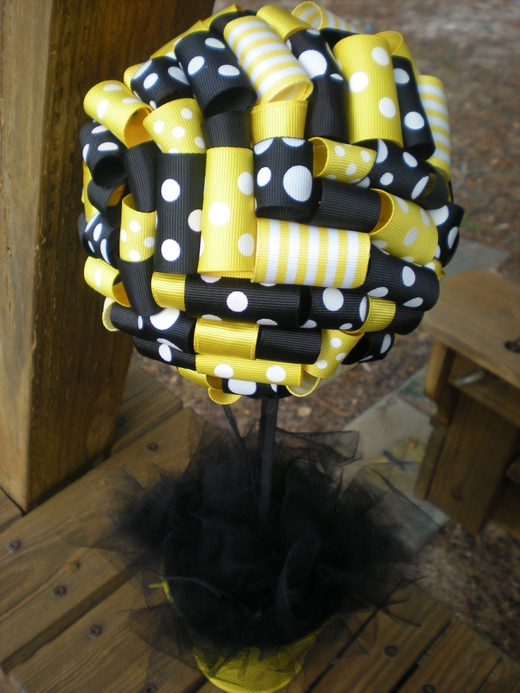 Ribbon Topiary In Yellow Black Bumble Bee Or Batman Centerpiece Decoration Small Size Paper Would Be Cheaper Add Some Flowers