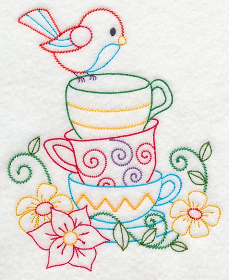 Stacked Cups with Perching Bird (Vintage) Cute on tea towel.  Embroidery Library