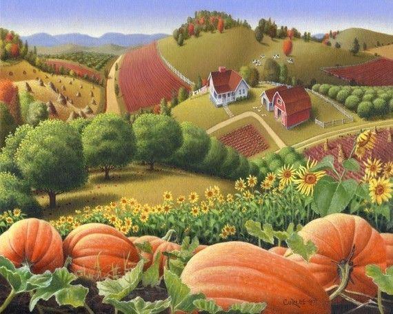 Folk art farm country landscape americana.