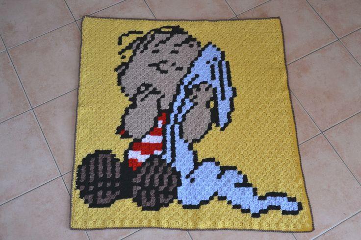 """Coperta ad uncinetto con Linus  """"the peanuts"""" , baby crochet blanket Linus , the peanuts blanket , crochet blanket,newborn, ready to ship di MariluCrochet su Etsy"""
