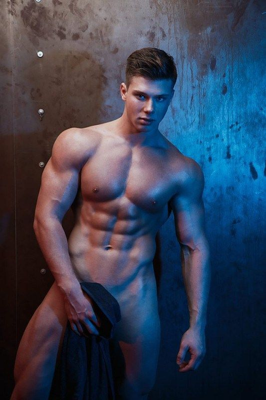 Physically fit naked guys