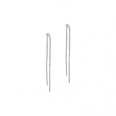 Two Bar Chain Earring Silver