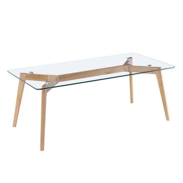 Mesa de centro madera y cristal. Idea de mesa para salón con patas de madera y tapa de cristal. #mesas #cristal #salón #comedor #tiendaonline