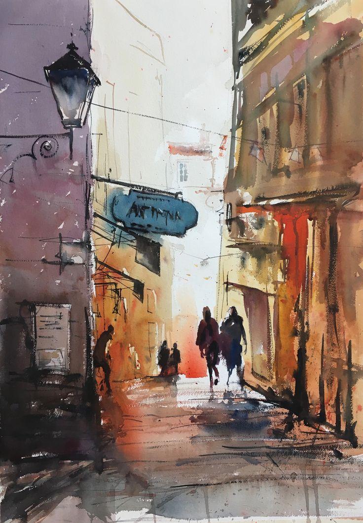 Old Town Nice, watercolor Stefan Gadnell