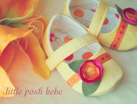 Yellow handmade Mary Janes with pink/orange flowers