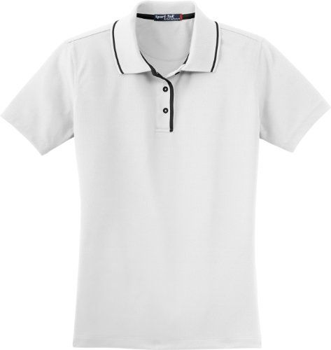 SportTek Ladies Polo Shirt with Tipped Collar and Dual Piping 4XL WhiteBlack ** This is an Amazon Associate's Pin. Detailed information can be found on Amazon website by clicking the VISIT button