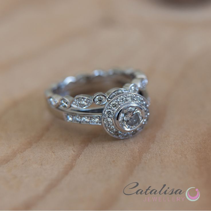 Halo Diamond Engagement Ring and Eternity Band