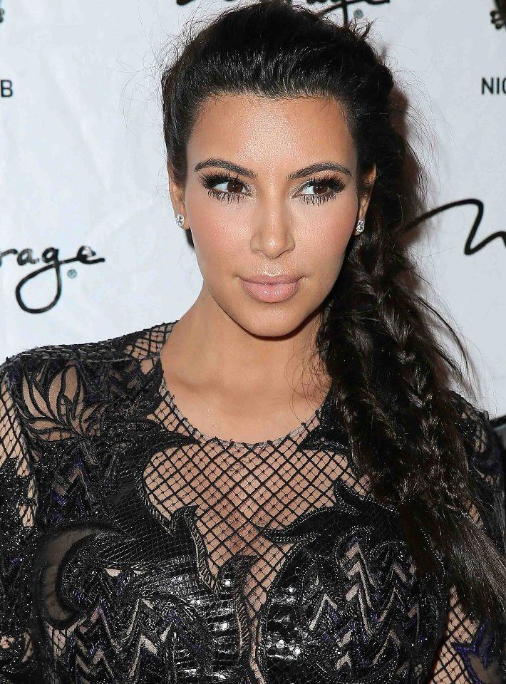 #KimKardashian looks great with this chunky 3 braided #fishtail #plait which we all wish we could do and so is our #HairHero