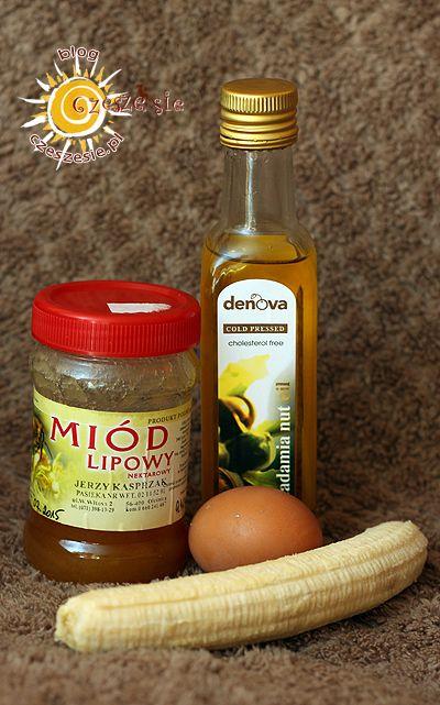 maska na włosy: 2 łyżki oleju/oliwy  1 łyżka miodu 1 żółtko 1 banan