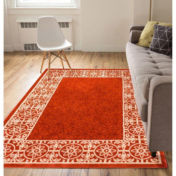 Well Woven Modern Border Geometric Tile Red