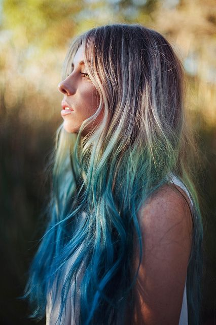 All sizes | lauren., via Flickr.: Dyed Hair, Rainbows Hair, Mermaids Hair, Dips Dyed, Color Hair, Dips Dyes, Ombre Hair, Blue Hair, Hair Chalk
