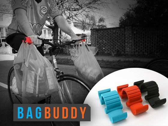 The Bag Buddy - A Necessary Bicycle Accessory by Nicholas Fjellberg Swerdlowe, via Kickstarter.  The Bag Buddy is a small, portable bicycle accessory designed for cyclists who commute frequently with bags and groceries.