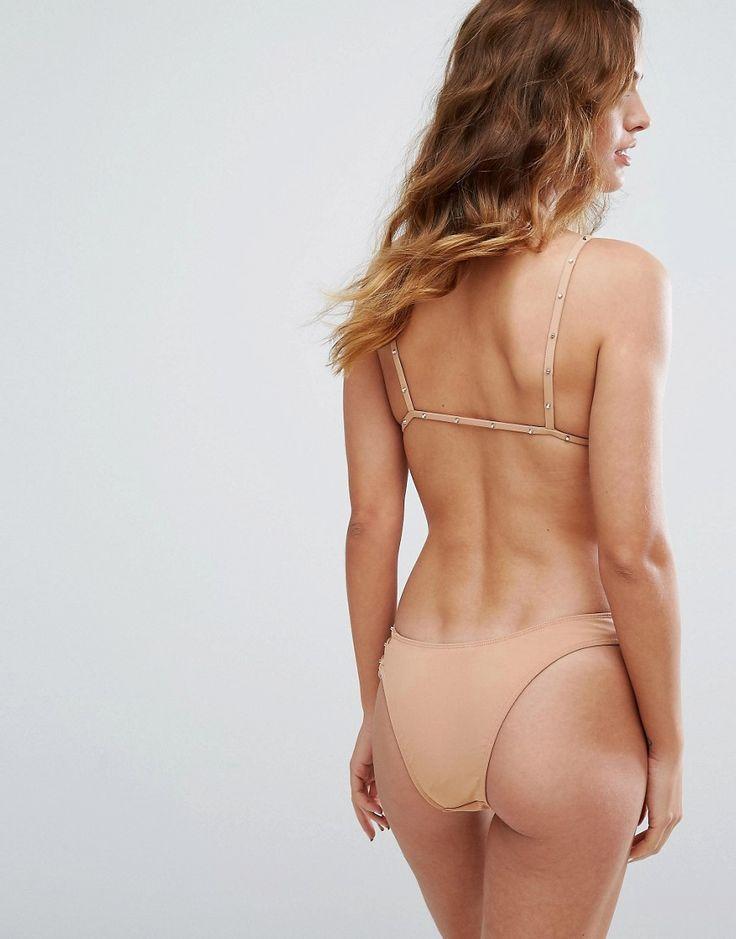 Minimale Animale Studded Triangle Bikini Top - Beige