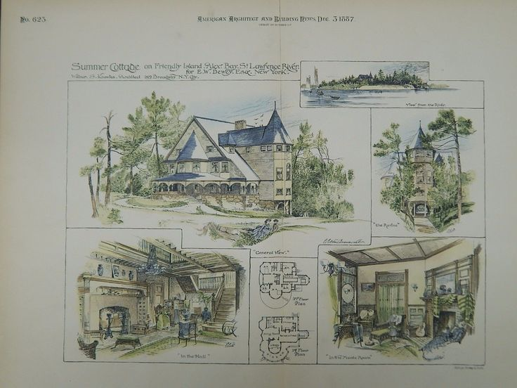 A Beautifully Detailed, Original Plan of the Summer Cottage for E. W. Dewey on Friendly Island, Alexandria Bay, St. Lawrence River, New York. HAND-COLORED. William S. Knowles, Architect. From the Amer                                                                                                                                                      More