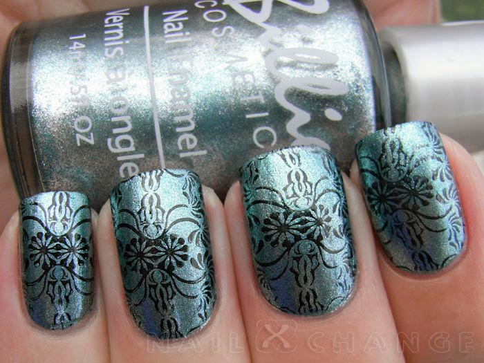 nailXchange: NOTD: Billie Cosmetics Steel Blue + BM-312: Polish Collection, Lacquer Obsession, Nails Art, Luv Nails, Art Fun, Cosmetics Steel, Nailxchang, Billy Cosmetics, Steel Blue