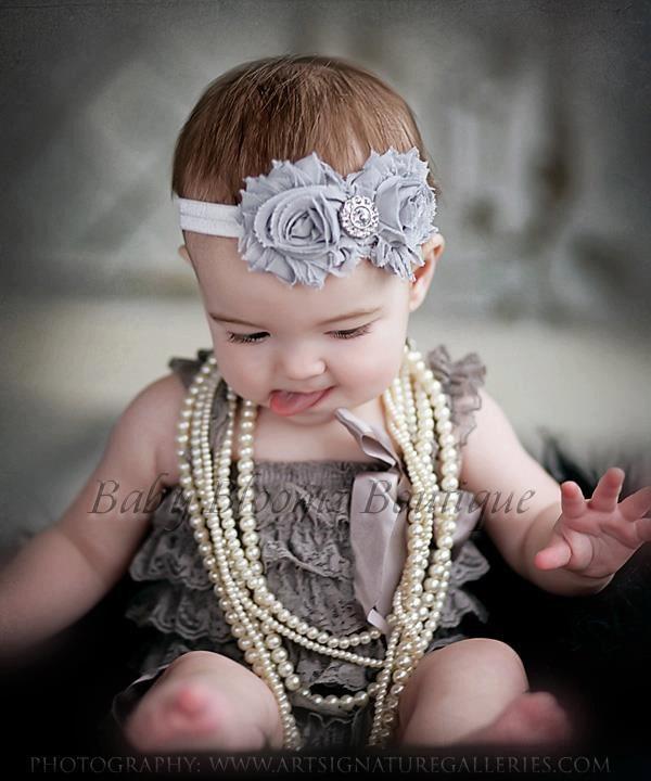 Baby Headband Shabby Headband Shabby chic by BabyBloomzBoutique, $7.95