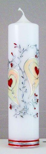 Schöne Hochzeitskerze mit silbern umrandeten Herzen // Nice wedding candle with silver bordered hearts