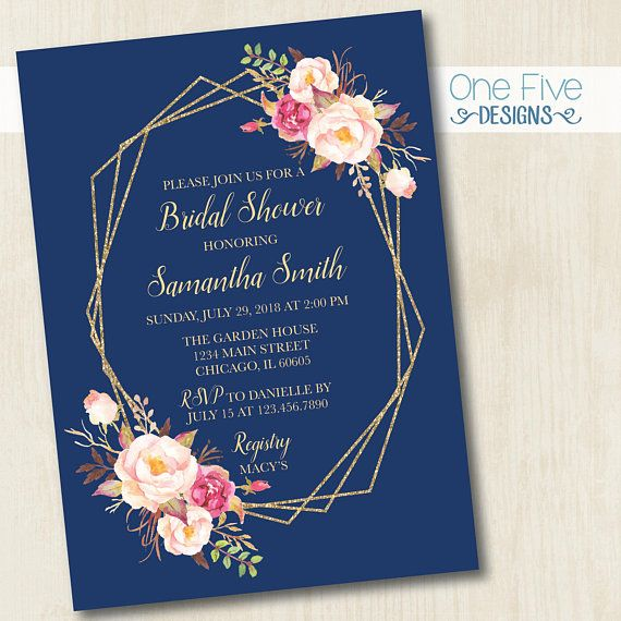 5x7 Bridal Shower Invitation Hot Pink /& Gold Flowers Teal Envelopes Included Free Shipping