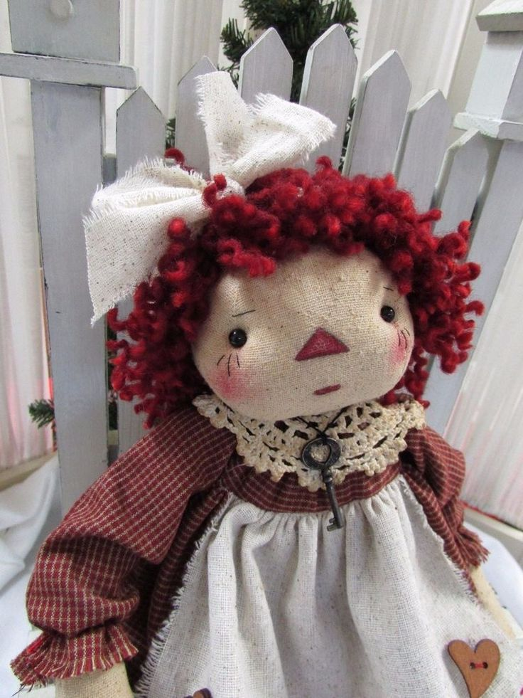 Primitive Folk Art Sweet Raggedy Ann Doll with Ginger Bread Man #HandMade