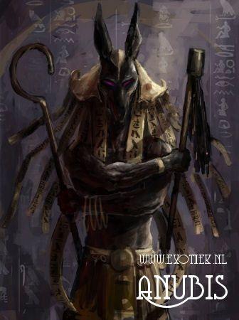 ANUBIS  Anubiswas een god in deEgyptische mythologie. Hij werd afgebeeld met het hoofd van eenjakhalsof als een jakhals.