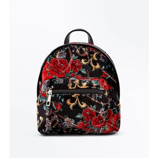 Red Floral Print Velvet Mini Backpack ($27) ❤ liked on Polyvore featuring bags, backpacks, red pattern, day pack backpack, floral backpack, floral backpacks, one strap backpack and flower print backpack