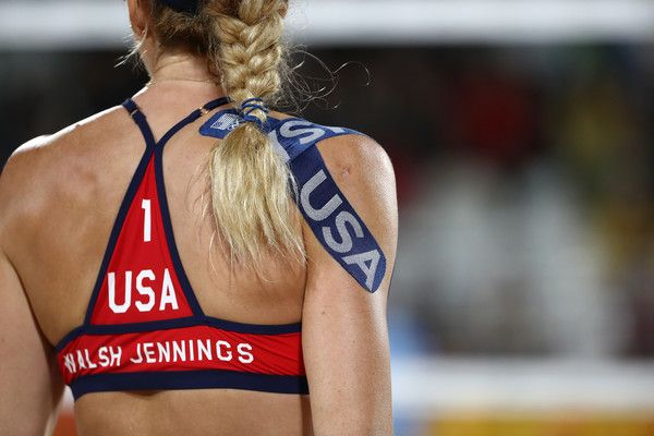 Kerri Walsh Jennings Photos - Kerri Walsh Jennings of United States looks on during the Women's Beach Volleyball preliminary round Pool C match against Fan Wang and Yuan Yue of China on Day 3 of the Rio 2016 Olympic Games at the Beach Volleyball Arena on August 8, 2016 in Rio de Janeiro, Brazil. - Beach Volleyball - Olympics: Day 3