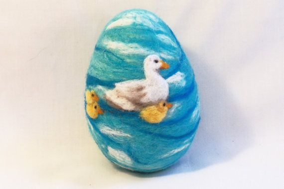 Large Needle Felted Easter Egg  Duck and Ducklings by syodercrafts, $30.00