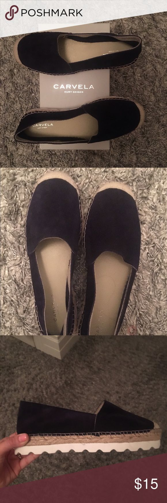 Carvela by Kurt Geiger espadrilles BRAND NEW Stretchy so they can fit size 9-10. (Says 40 on box but the run a little small) These navy blue espadrille sandals have never been worn! They sent me the wrong size and wouldn't let me return! They are too big on me as you can see in the picture but they are in absolutely perfect condition and have never been worn. Made by very famous European designer. Kurt Geiger Shoes Espadrilles