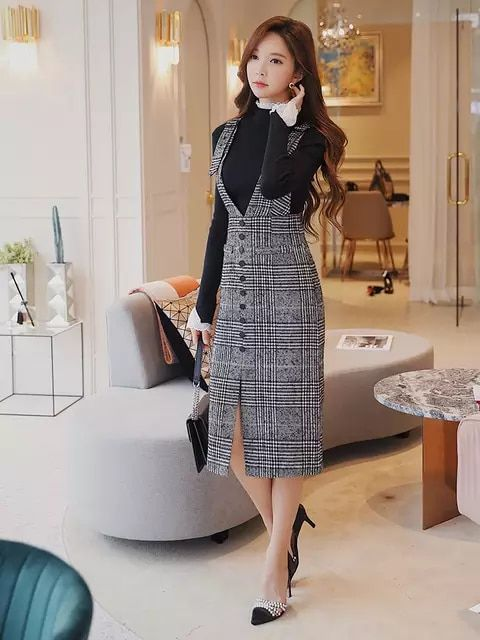 f923b47c4201 Original marca faldas mujer moda 2018 outono inverno senhoras xadrez cinza  longas chaves saia mulheres de alta cintura fina do vintage atacado