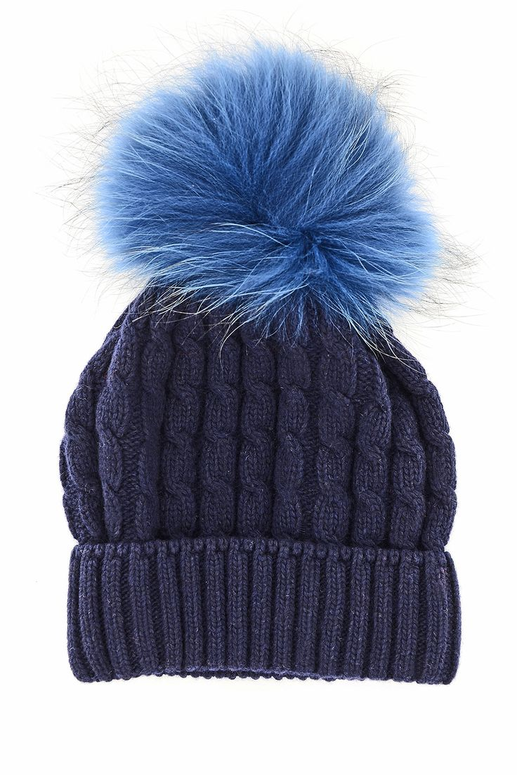 - Beanie made of cashmere wool knit in navy blue color  - Wide real fur in light blue color