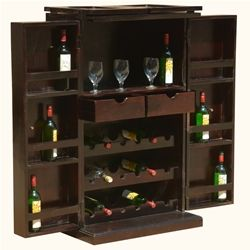 Mexico Traditional Handcrafted Solid Wood Expandable Wine Bar Cabinet Cabinetsstorage Cabinetsliquor