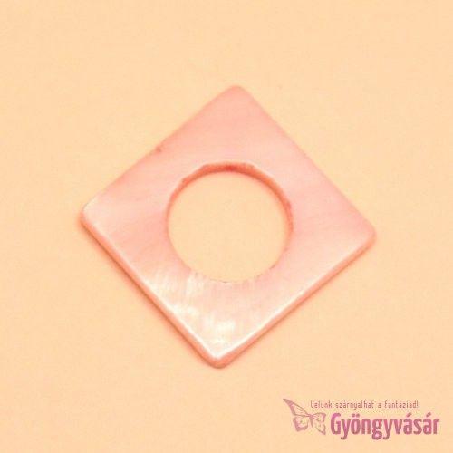 Púder rózsaszín, 20 mm-es átlós négyzet - kagylógyöngy • Gyöngyvásár.hu