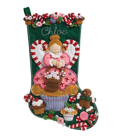 This Cupcake Angel Stocking Embroidery Kit by Bucilla is perfect! #zulilyfinds