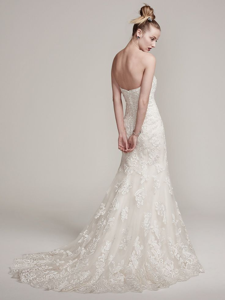 Sottero & Midgley bridal gown at The Bridal Cottage! #train #lace #strapless