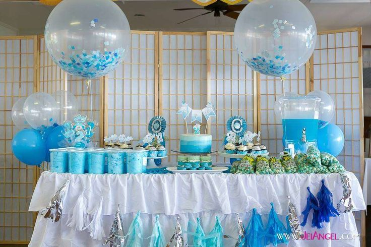 Dessert table and balloons at a Blue Ombre Prince boy birthday party!   See more party planning ideas at CatchMyParty.com!